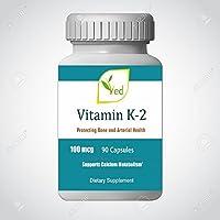 La vitamine K2 comme capsules sans allergènes de MK7 Natto 100 mcg, 90 capsules pour le métabolisme de calcium et la santé artérielle par Ved