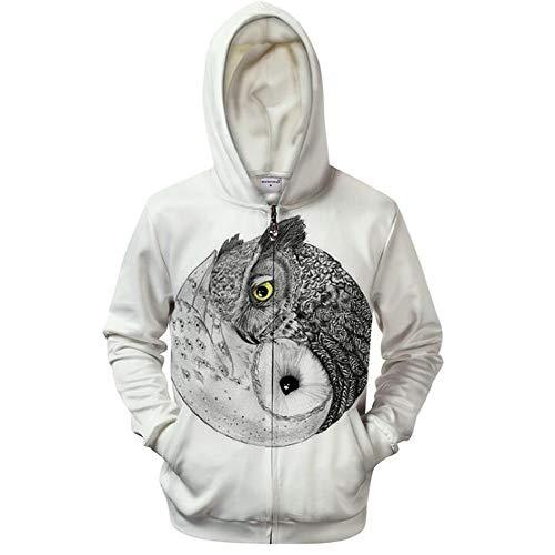Mens Zip Up Hoodies Trigram Owl 3D Prints Pullover with Pockets Slim Fit Sweatshirts Jacket Jumpers Breathable Couple Hoodies Unisex Look White,S - Mens White Denim Jacket