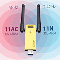 RTL8812AU USB 3.0 WLAN Adapter 1200Mbps 2.4GHz?300Mbps? /5GHz ?867Mbps?USB 3.0, 802.11 abgn+ac, MIMO 2x2 WiFi USB Adapter for Kali Linux/Windows XP/Vista/7/8/8.1/10 (32/64bits) MAC OS X/monitor injec