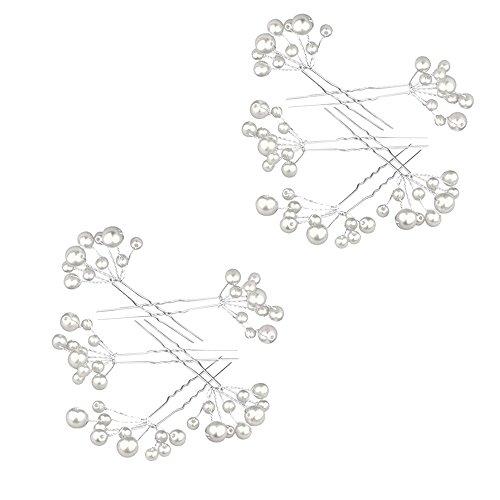Contever® 10 Pcs Künstliche Weiß Perlen Haarstifte Haarpin Haarspange Haarnadel Clips Cluster Kamm Stirnband Clips FÜR Prom Hochzeit Braut Bridesmaids (Rosa Fabelhafte Hut)