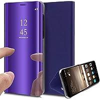 Uposao Huawei Mate 20 Spiegel Klapphülle Lederhülle Überzug Mirror Effect Strass Flip Schutzhülle Ledertasche Handyhülle Clear View Leder Flip Case Cover Handytasche,Lila