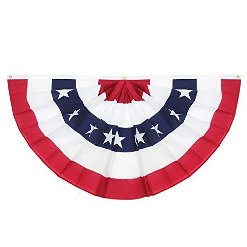 YIDADIAN Amerikanische Plissee Fan Flagge Amerikanische USA Ammer Dekoration Fahnen Halber Fan Banner Patriotische Sterne und genähte Streifen mit Canvas Header und Messingösen