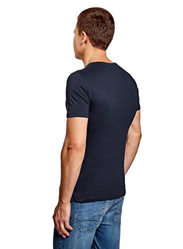 oodji Ultra Herren Baumwoll-T-Shirt mit City-Print Blau (7910P)