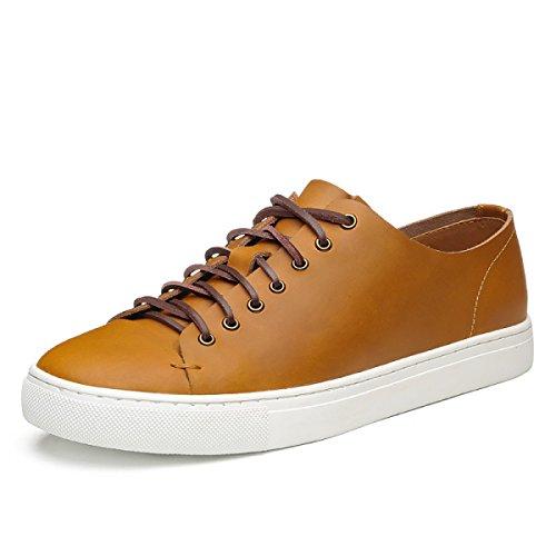 Männer Freizeitschuhe Herrenschuhe England Board Schuhe Leder Freizeitschuhe Retro Leder Multicolor Herrenschuhe,Beige-38 (Beige Freizeitschuhe Wildleder)