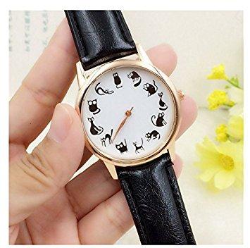honeysuck niña de cuarzo reloj de pulsera de la mujer gatos lindos escala PU correa de cuero reloj (negro)