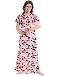 04249153aa844 TUCUTE Women's Beautiful Print with Invisible Zip Feeding/Maternity/Nursing  Nighty/Nightwear.