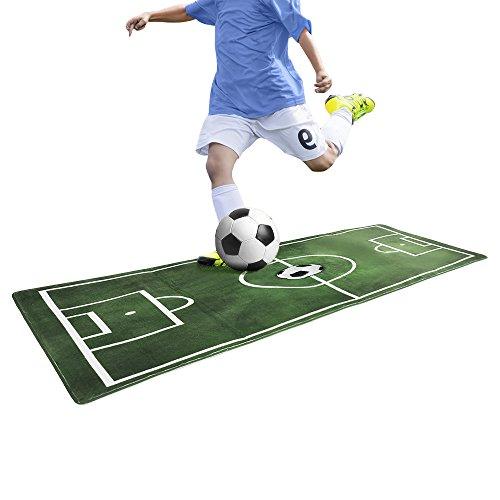 PovKeever Fußball-Teppich, Kinderspielteppich, rutschfest, grün, 60 X 180 CM
