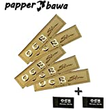 Papper Bawa OCB King Size Rolling Paper Gold Pack Of 5 Booklets + 2 Roach Pad (160 Leaves)