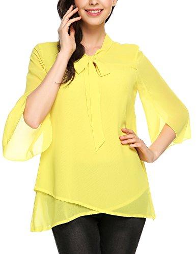 Soteer Damen Bluse Gr. XX-Large, gelb (Ruffle Front Sheer Blouse)