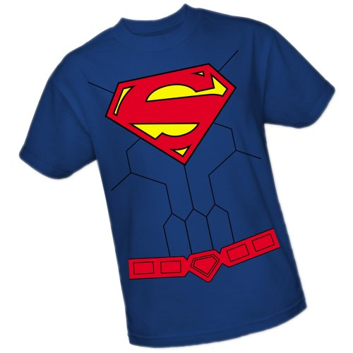 Superman T SHIRT Für Erwachsene Herren Kostüm - DC Comics Herren Superman-Kostüm- Das Neue