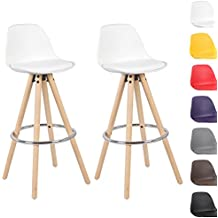Woltu® # 5102x Taburete de bar Juego de 2Silla de bar de madera y plástico) con respaldo silla cocina diseño silla Selección de Colores 2 unidades Weiss