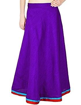 Mujeres Maxi Hippie Playa India Dupion Silk Lace Moda Falda Larga