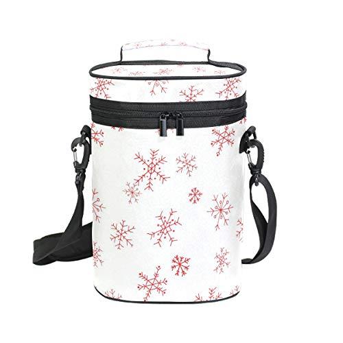 DEZIRO Picknick Weinflaschen Kühltasche rot Weihnachten Urlaub Schneeflocke inkl. Wein- / Wasserflasche Tragetasche 2 Stück Wein Reisetasche (Wein Schneeflocke Gläser)
