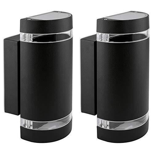 2er Set LED Wandlampe up & down - Außen Wandleuchte IP44 Aufbauleuchte halbrund Alu schwarz mit 2x LED 5W 230V GU10 warmweiß -