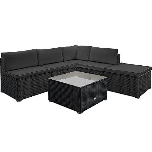 Deuba Poly Rattan Lounge Set Schwarz Grau 7cm Auflagen & 20cm Dicke Kissen Tisch Glas Ecksofa Gartenmöbel Garten