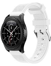 Banda de reloj 20mm, happytop silicona pulsera correa de muñeca relojes de repuesto para Samsung Gear S2Classic SM-R732, hombre, blanco, S