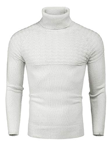 MAXMODA Strickpullover Herren Grobstrick Rollkragenpullover Weiß Pulli Slim Fit Rollkragen Pullover Männer Sweater m