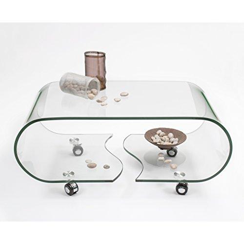 Homely - Mesa de centro con ruedas y cristal curvado de una...