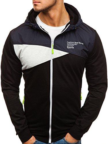 BOLF - Felpa - Pullover - Manica lunga – Maglione - Zip - Classic - Motivo - 1A1 Nero-Grafite_1115