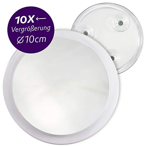Fantasia Kosmetikspiegel mit 10-fach Vergrößerung, Premium Schminkspiegel Ø 10cm rund mit Saugnapf, Acryl Make-Up-Spiegel für zuhause und unterwegs,Innen Ø 8,5cm