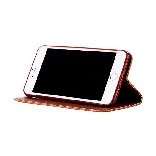 iPhone 7 Cover Pelle Portafogli con Schede Slot Magnetica Flip Chiusura Libro Stile Supporto Funzione HuaForCity® iPhone 7 Case Leather Wallet with Cards Slot Magnetic Flip Closure Book Style Support  B-Marrone