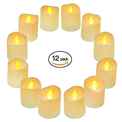 Battery Operated LED Tea Lights 12Pcs,Small Electric Fake Tea Candle Realistic,Unscented and Flameless Votive Tealights Candle with Warm White Flickering Bulb light for Festivals,Home Decoration, Weddings and Parties from QHYK