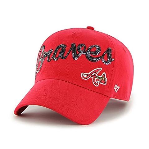 MLB Atlanta Braves Women's Sparkle Script Clean Up Hat, Women's, Red