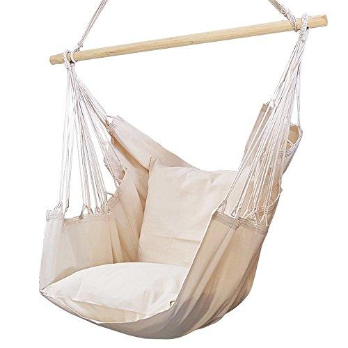 Amaca in cotone a sedia - dondolo bianca bianco/ecru' - amaca sospesa