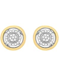 Pave Prive Women's 9ct White  Gold Round White Diamonds Yellow Gold Outer Circle Stud Earrings