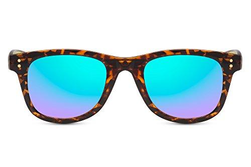 Cheapass Sonnenbrille Verspiegelt Recht-Eckig Schwarz Leopard-Print UV-400 Hipster Plastik Damen Herren