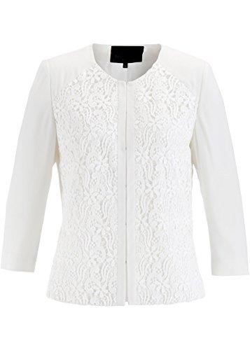 bonprix Damen Blazer creme weiß elegant edel mit Spitze verziert Größe 38 bis 54 Nummer 17778 (50)