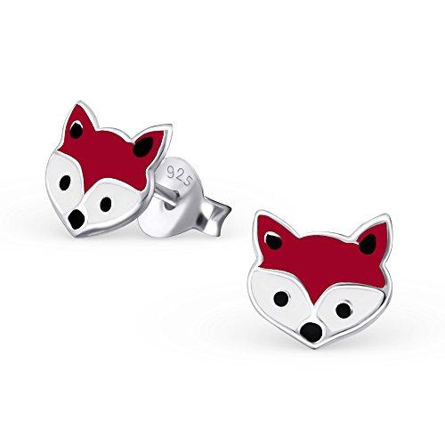 bungsa© volpe orecchini in vero gioielli orecchini Studs Gioielli Orecchini in argento Sterling .925(per bambini ragazzi ragazze)