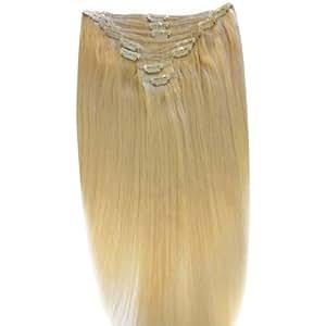 Echthaar Haarverlangerung, 60 cm, Lichtblond (60), Clip In Extensions. Hochwertige Remy Haare! 120 g fur einen Kopf