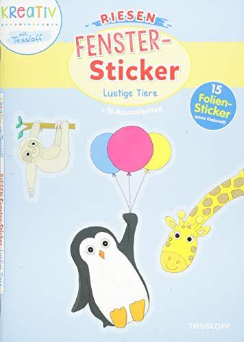 Riesen-Fenster-Sticker. Lustige Tiere: Mit 15 Folien-Stickern! (Malbücher und -blöcke)