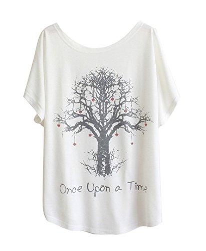 men Weiss Fledermaus-Shirt mit Baumwolle und Stoffdruck in der gleichen Größen 59cm. Once Upon a time ()