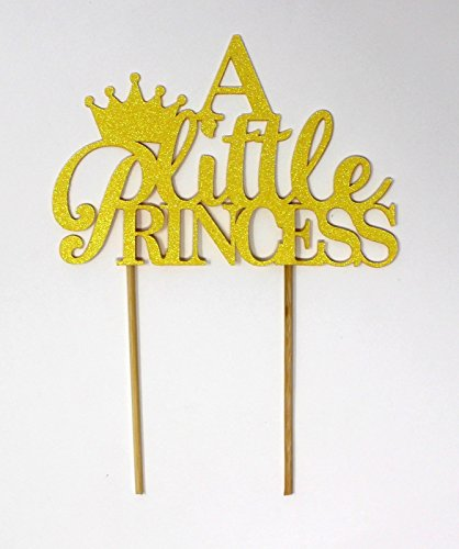 (All About Details A Little Princess Kuchendekoration 6-in wide and 4-in height (plus 4-in wood sticks) Glitter Pastel Yellow)