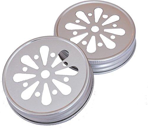 LIEBLINGSGLAS 4 x Blumendeckel Silber - für Ball Mason Glas (Mason Jar Lids-daisy)