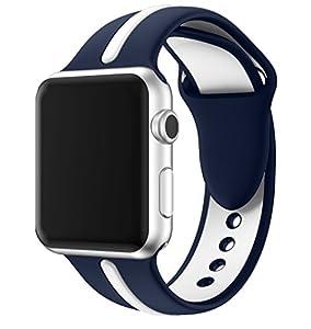 LEEHUR- Apple Watch Armband 42mm, Serie 1/2 Sport Armbanduhr Silikonarmband Ersatzarmband Armband für Apple iWatch / Apple Uhr Nike + (42mm, Blau & Gray)