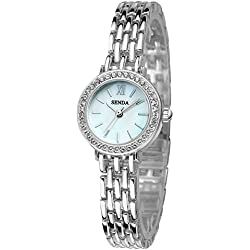 Fashion Bracelet Rhinestone Alloy Strap Quartz Women Girl Wrist Watch,Silver