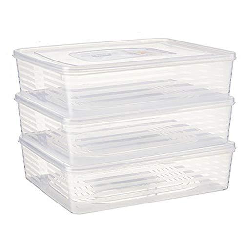 Lebensmittelaufbewahrung ZYLIANG Aufbewahrungstasche Für Lebensmittel, 3 Stück, Aufbewahrungsbox Für Kühlschrank Aus Kunststoff, Mit Deckel, Rechteckiger Transparenter Aufbewahrungsbehälter Für Gefri