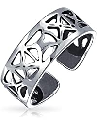 Bling Jewelry Sterling Silver anillos de dedo de pie filigrana recorte X Anillo dedo medio