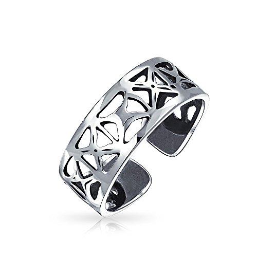 Mit Ausgefräster Offene X Filigrane Breite Midi-Band Zehe Ringe Für Damen 925 Sterling Silber Verstellbar