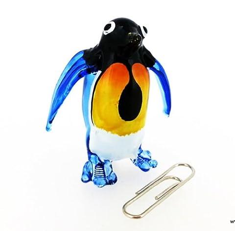 Murano COLLECTIBLE MINIATURE main soufflé Art verre permanent pingouin bleu FIGURINE