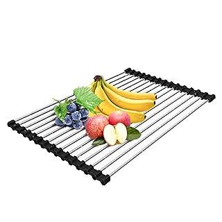 AIDBUCKS Aufrollen-Geschirrtrockner, Edelstahl über der Spüle Abtropfgestell, Faltbarer Mehrzweck-Geschirrtrockner, Küchenablage