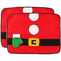 Cabilock Mantel Individual de Navidad tapete de vajilla Reutilizable de Santa con Bolsa de Cubiertos con Soporte de Cubiertos para Fiesta Navidad hogar - Juego de 2