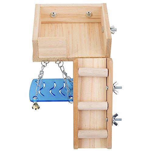 Fdit Holzplattform, Haustiere Hamster Haus Schaukel und Leiter Set Eichhörnchen Mäuseleiter Dachgeschoss, Klettern Kits für kleine Tiere(Original)