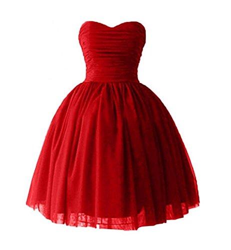 Bridal_Mall Damen Herzform Brautjungfernkleider Kurz Ball Cocktail Partykleider Rot