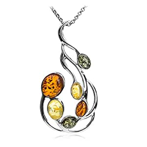 Multicolor Amber Sterling Silver Large Pendant Necklace Chain 46cm