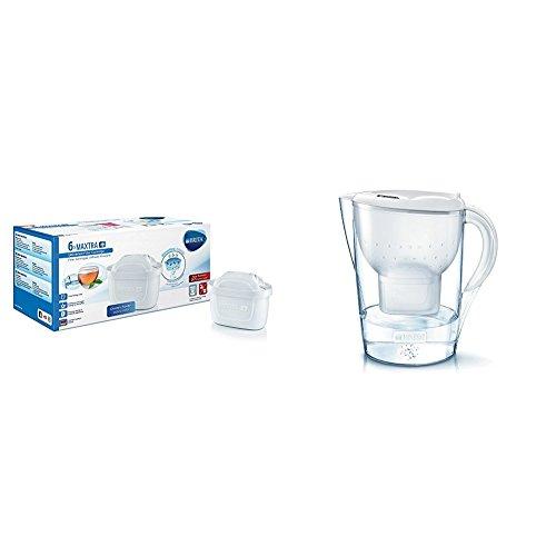 BRITA MAXTRA+ - Filtro de agua 100 l, pack de 6 meses + BRITA Marella XL - Jarra de agua de 3,5 l con filtro MAXTRA+, color blanco