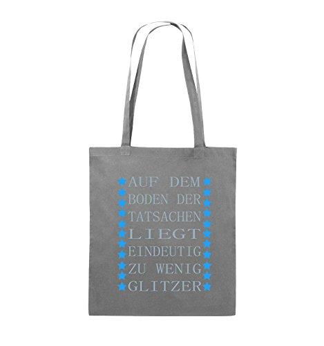 Comedy Bags - Auf dem Boden der Tatsachen liegt eindeutig zu wenig Glitzer - Jutebeutel - lange Henkel - 38x42cm - Farbe: Schwarz / Weiss-Pink Dunkelgrau / Eisblau-Blau